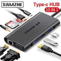 SAMZHE HUB USB tipo C a HDMI RJ45 adaptador de lector de tarjetas para MacBook Samsung Galaxy S9/nota 9 Huawei p20 Pro