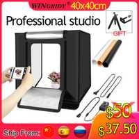 WINGRIDY W40 LED plegable foto estudio Softbox caja de luz 40*40 tienda de luz con caja de accesorios de fondo blanco amarillo negro luz