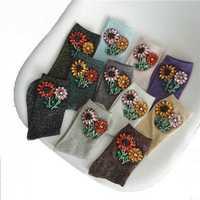 Las mujeres invierno calcetines de seda de la flor hecha a mano de plata brillante de diamantes de imitación de cristal Calcetines