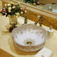 De estilo europeo del fregadero encimera alta calidad artística flor forma lavabo hogar lujoso lavabo Baño de cerámica del fregadero