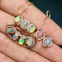 18 K chapado en oro 925 Opal collar pendiente, anillo, cuelga los pendientes la joyería piedra preciosa Natural 4x6mm