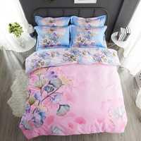 Nuevo juego de cama bonito de 4 unids juego de cama suave cómodo ropa de cama de impresión de varios colores ropa de cama Textiles para el hogar