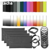 Juego de filtros de 24 colores cuadrados graduado ND Kit 9 anillo adaptador + soporte + tapa de lente para cámara de la serie del anillo de Cokin P