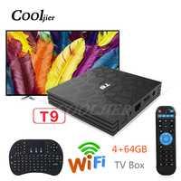 COOLJIER más nuevo Android 8,1 TV Box 4 GB 64 GB T9 RK3328 Quad Core 4g/32G USB 3,0 Smart 4 K Set Top Box WIFI Bluetooth Smart box
