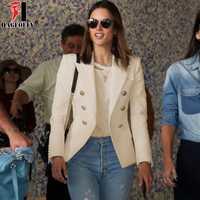 HAGEOFLY 2018 diseño blanco negro Blazer mujeres Trabajo Oficina Formal doble Breasted botones Blazers otoño más tamaño grande Blazers