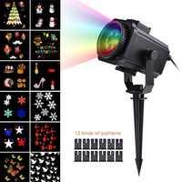 12 patrón reemplazable diapositivas Navidad láser proyector lámpara Snowflake led etapa luz al aire libre impermeable jardín Luz