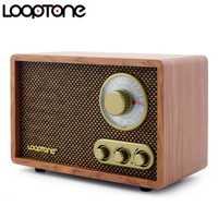 LoopTone Tabletop AM/FM Hi-Fi Radio Vintage Retro Classic Radio W/altavoz incorporado trible y Control de graves madera hecha a mano