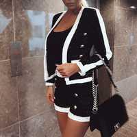 HAGEOFLY alta calidad 2, conjunto de dos piezas de mujer blanco y negro pantalones cortos doble León botón chaqueta abrigo con pantalones cortos de las mujeres traje de