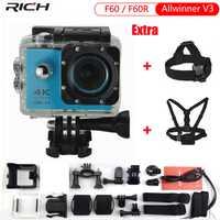 Rico cámara de acción actualizado versión F60/F60R 4 k Cámara de Acción Wifi 2,0 pantalla 170 lente ancha impermeable del deporte cámara