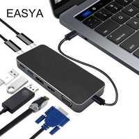 Easya 8 en 1 Thunderbolt 3 USB C Hub Dock adaptador con HDMI VGA pantalla USB-C poder dongle entrega para MacBook Pro