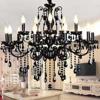Cristal negro Salón Europeo lámparas de lujo comedor Hotel Lobby restaurante colgante Accesorios