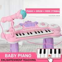 Juguetes instrumento Musical Mini micrófono Piano iluminación efectos de sonido reproducción Multimedia 1-6 años educación del bebé Pianoforte