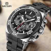 Relojes de marca de moda MEGIR para hombre reloj de cuarzo luminoso casual reloj de pulsera resistente al agua para hombre cronógrafo de silicona hora