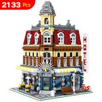 Lele City Street Cafe esquina Model building Blocs regalo educativo compatible legoinglys Creator House para niños 2133 unids