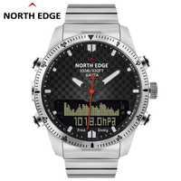 Los hombres de buceo deportes reloj Digital relojes ejército militar completo, de lujo acero impermeable 100 m altímetro brújula borde norte