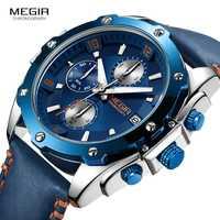 Relojes para hombre de 2019 MEGIR, relojes de lujo para hombre, de cuero informal, a prueba de agua, reloj de cuarzo deportivo para hombre, reloj de cuarzo