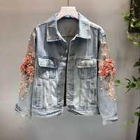 Otoño de 2018 las mujeres del bordado en tres dimensiones flores perla Denim corto abrigo de manga larga chaqueta de Jean femenina abrigos