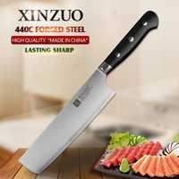 XINZUO 7 pulgadas cocina cuchillo rebanador Nikiri cuchillos 3 capa 440C revestido de acero inoxidable cocina cocinero cuchillos con G10 mango