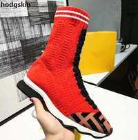 Pista rojo calcetín negro mujeres botas de Color de hechizo tejido plana Zapatos casuales Zapatos de mujer cuñas tobillo botas deslizamiento en Zapatos zapatos