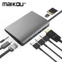 Maikou 9-en-1 USB C Hub Mini DP USB-C 4K Video HDMI con tipo- C Gigabit Ethernet adaptador USB 3,1 tipo C C3.1 HUB