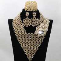 Superior de oro indio novia perlas joyería conjunto hecho a mano boda de Nigeria declaración collar babero 2017 envío gratuito WA799