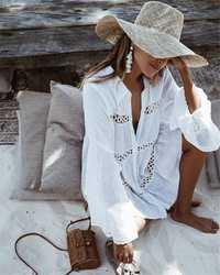 2018 blanco Beach dress holiday dress sexy mujeres traje de baño cubre Kaftan playa vestido Túnica de algodón Pareo Beach hasta 56