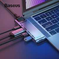 Baseus Dual tipo C HUB USB 3,0 para Macbook Pro 3 USB C a HDMI 4 K SD TF lector de tarjeta RJ45 PD adaptador USB 3 C
