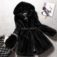 Invierno más tamaño de las mujeres Faux pieles abrigos piel de conejo medio-largo abrigo y chaquetas con capucha para las mujeres invierno abrigos negro