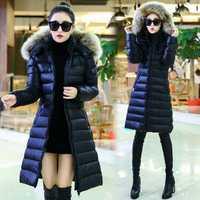 Más tamaño L-5XL mujeres largo invierno chaquetas abajo chaqueta invierno mujer Abrigos 2018 abrigos mujeres algodón abrigo Parka negro /azul