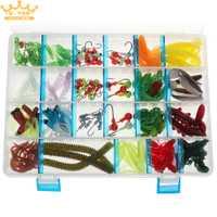 146 unids pesca Artificial señuelo suave Kit incluye T cola gusano Camarón Rana lombriz sirena cebos