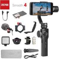 Zhiyun Smooth 4 3-Axes Poche Smartphone Stabilisateur de Cardan pour iPhone XS XR X 8plus 8 7P 7 6S Samsung S9 S8 S7 & Caméra D'action