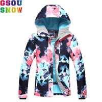 GSOU SNOW chaqueta de esquí de las mujeres traje de esquí de invierno impermeable barato traje de esquí al aire libre Camping mujer abrigo 2018 Snowboard ropa de camuflaje