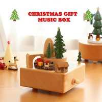 Nueva caja de música de madera giratorio noria tren en movimiento caja de música de juguete para niños amigos cumpleaños navidad regalo decoración del hogar