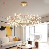 Art décoratif branche d'olivier pendentif Europe Style LED suspendus lumières feuilles Foyer salon hall AC110/220 V café dynastie livraison gratuite
