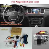 Cámara de visión trasera para Peugeot 508 2011 2016-Juego de Cámara de marcha atrás RCA y pantalla Original Compatible