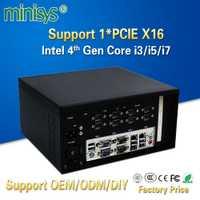 Minisys nuevo Intel Core I3 4160 I5 4460 I7 4770 Industrial Mini PC de escritorio con ventilador soporte Nvidia gráficos discretos y PCIE X16