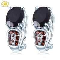Hutang Garnet Clip pendientes piedras preciosas naturales sólido 925 Plata fina joyería para mujeres niñas mejor regalo de cumpleaños nuevo