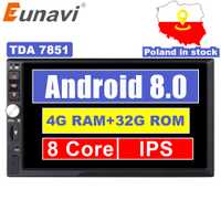 Eunavi 2 Din 7 ''Octa core Universel Android 8.0 4 GB RAM autoradio stéréo navigation gps WiFi 1024*600 écran tactile 2din Voiture PC