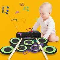 Instrumentos de percusión Musical portátiles para niños con tambor electrónico enrollable de silicona para niños