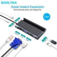 Baolyda USB C HUB Multi-Port adaptador 7in1 USB-C a 4 K HDMI Ethernet puerto VGA 100 W la Policía de Puerto USB 3,0 para MacBook Pro C-tipo de dispositivos