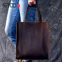 AETOO RClassic estilo europeo y americano bolso de mano de cuero hecho a mano hombres y mujeres bolso de compras de cuero grande