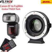 Viltrox EF-FX2 de enfoque de la lente adaptador 0.71x para Canon EF a FUJIFILM X-T3 X-PRO2 X-T100 X-H1 X-A20 con Godox TT685 para Fuji