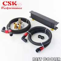 Enfriador de aceite de motor de 9 filas con termostato 80 Deg Kit adaptador de filtro de aceite negro