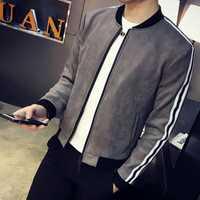 Nueva llegada Mens chaquetas Color sólido manga larga Suede chaquetas jóvenes alta calidad Micro elástica Slim Fit Hombre chaqueta