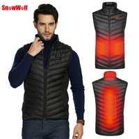 SNOWWOLF 2019 al aire libre de los hombres de infrarrojos USB calefacción chaleco chaqueta de invierno eléctrica de fibra de carbono ropa térmica chaleco táctico