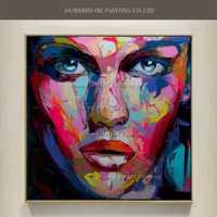 Pintura al óleo del retrato de la muchacha pintada a mano del arte Pop en lienzo cuchillo abstracto mujeres cara acrílico personajes pinturas decoración de la pared del hogar
