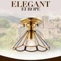 American retro cobre vidrio helado LED chandelier simple vestíbulo E27 LED lámpara Iluminación elegante loft lámpara