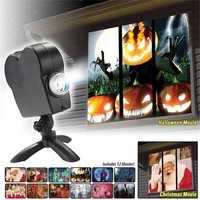 Navidad/Halloween Proyector láser 12 películas Mini ventana de proyector de cine en casa interior/al aire libre las maravillas para los niños proyector