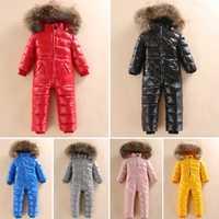 -30 russe hiver Snowsuit 2019 garçon bébé veste 80% canard vers le bas en plein air infantile vêtements filles escalade pour garçons enfants combinaison 2 ~ 5y
