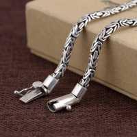 Collar de plata S925 collar de estilo tejido simple de artesanía antigua de plata sólida real para hombre